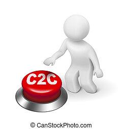 c2c, ボタン, クライアント, 人, 3d