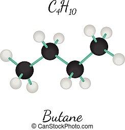 C4H10 butane molecule - C4H10 butane 3d molecule isolated on...