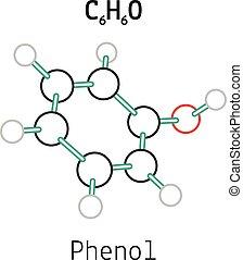 C6H6O phenol 3d molecule isolated on white