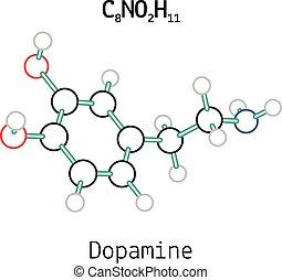 C8NO2H11 dopamine molecule - C8NO2H11 dopamine 3d molecule...