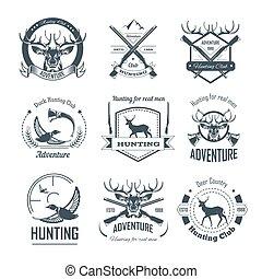caça, ícones, clube, estação, caça, caçador, arma, aventura,...