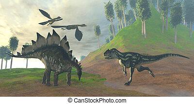 caça, allosaurus