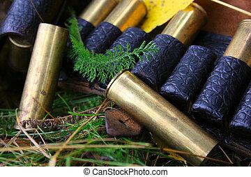 caça, cartuchos, e, cobertura