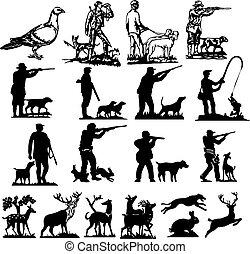 caça, cobrança, silhuetas