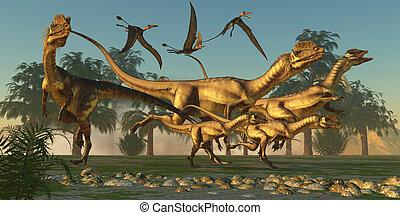 caça, dilophosaurus