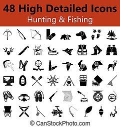 caça, e, pesca, liso, ícones