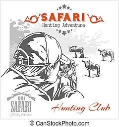 caça, etiquetas, ilustração, club., safari, africano