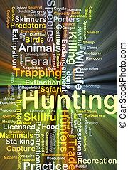caça, fundo, conceito, glowing