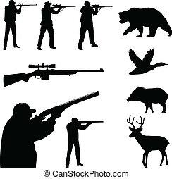 caça, silhuetas