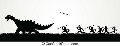 caça, um, dinossauro