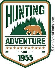 caça, urso, desenho, retro, emblema, aventura