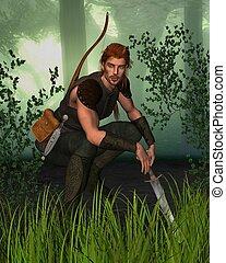 caçador, bosque, floresta