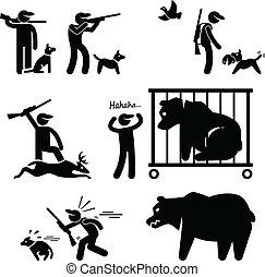 caçador, cão, caça
