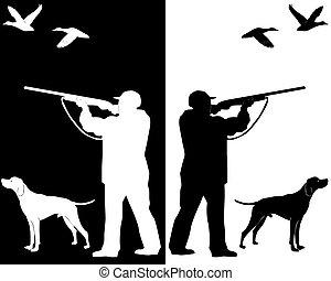 caçador, com, um, cão