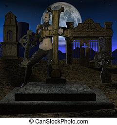 caçador, dia das bruxas, -, vampiro, figura