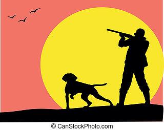 caçador, e, cão, silueta, vetorial