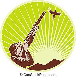 caçador, espingarda, rifle, faisão, aimng