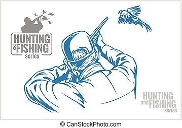 caçador, -, faisão, ilustração, vindima