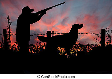 caçador, seu, caça, cão, amanhecer