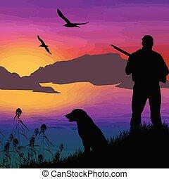 caçador, silueta, cão