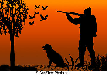 caçador, silueta, canino