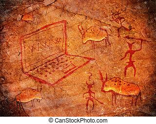 caçadores, caverna, ilustração, pintura, caderno, digital