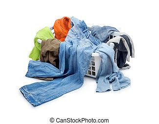 caído, ropa, plástico, aislado, cesta, blanco
