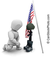 caído, soldado, tributo