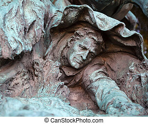 caído, união, calvário, homem, cavalos, encarregando, nós, concessão, estátua, memoria
