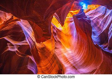 cañón antílope, en, arizona