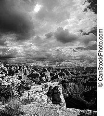 cañón, arizona negro, blanco, magnífico