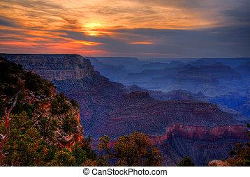 cañón, arizona, ocaso, magnífico