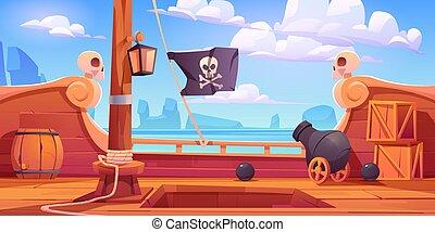 cañón, barco, vista, pirata, onboard, cubierta de madera
