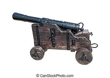 cañón, blanco,  medieval, aislado