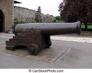 cañón, en, kalemegdan, fortaleza, -, belgrado, serbia