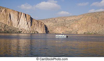 cañón, lago, vista
