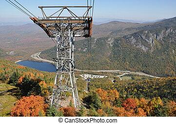 cañón, montaña, aéreo, tranvía, vista