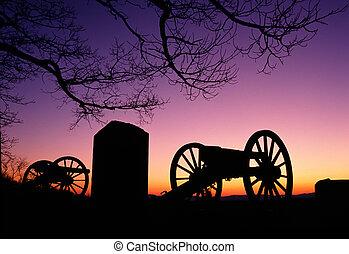 cañón, monumento conmemorativo, guerra, anochecer, arma, ...