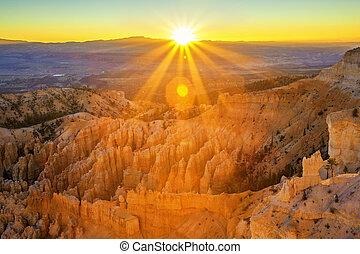 cañón, parque, nacional, punto, anfiteatro, bryce, ...