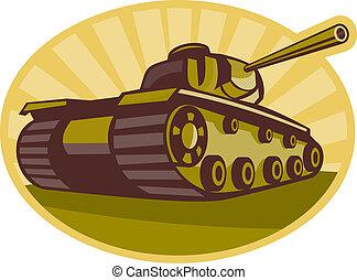 cañón, tanque, guerra, sunburst, batalla, lado, dos, mundo, apuntar