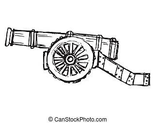 cañón, vector, antigüedad, bosquejo