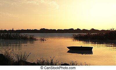 caña, pantano, y, barco, en, amanecer