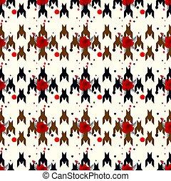 cañada, hounds-tooth, moda, eps10, flower., clásico, color, blanco, seamless, vector, tartán, fondo negro, inglés, impresión, patternwit, geométrico, glenurquhart, cheque, rojo, design.