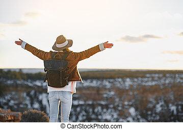 cañon, voornaam, nationale, jonge, toerist, park