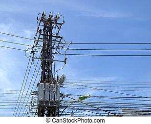 caótico, comunicaciones, alambre