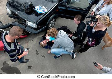 caótico, desplome del coche, escena