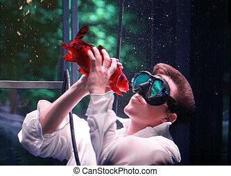 całowanie, fish, człowiek