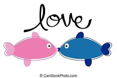 całowanie, fish, miłość