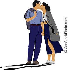 całowanie, ilustracja, wektor, para
