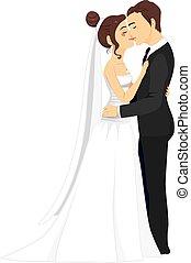 całowanie, para, ślub